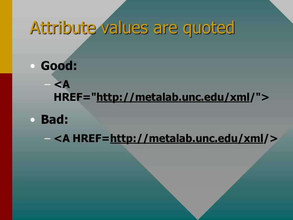 Attribute values are quoted Good: – Bad: –