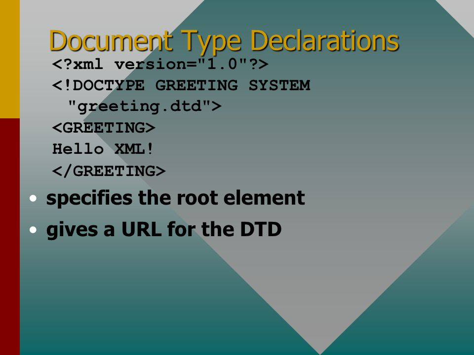 Document Type Declarations Hello XML! specifies the root element gives a URL for the DTD