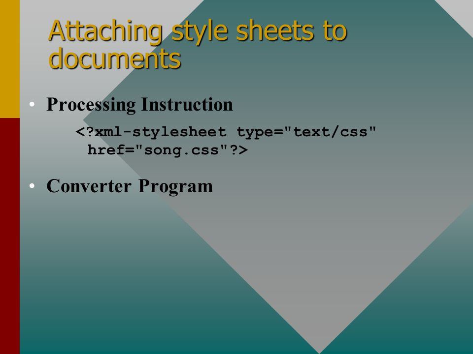 Attaching style sheets to documents Processing Instruction Converter Program