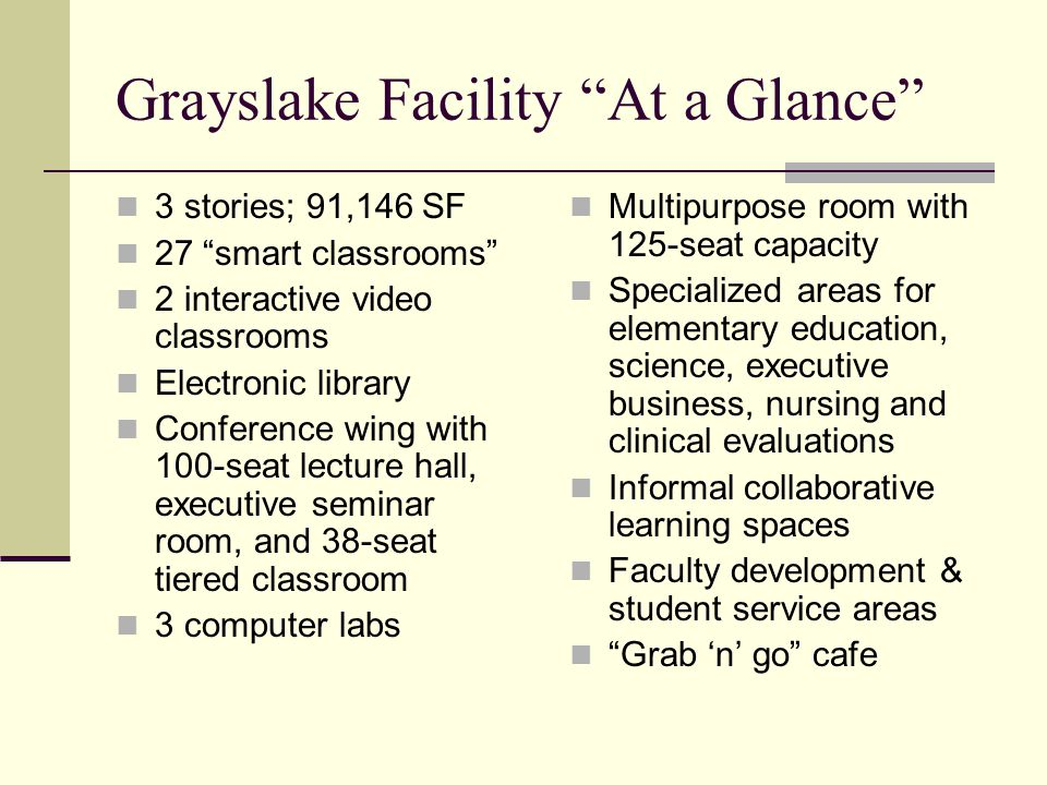Grayslake Facility At a Glance 3 stories; 91,146 SF 27 smart classrooms 2 interactive video classrooms Electronic library Conference wing with 100-seat lecture hall, executive seminar room, and 38-seat tiered classroom 3 computer labs Multipurpose room with 125-seat capacity Specialized areas for elementary education, science, executive business, nursing and clinical evaluations Informal collaborative learning spaces Faculty development & student service areas Grab n go cafe