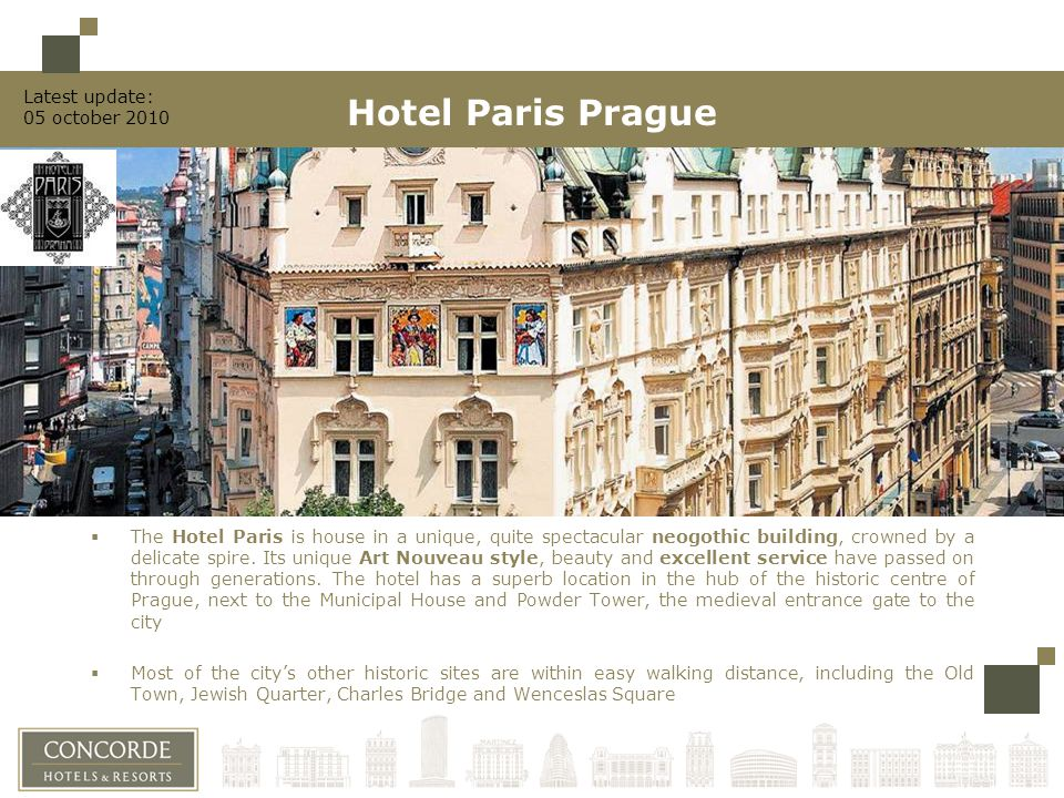 Location In the heart of historic centre of Prague Next to the Municipal House and Powder Tower, the medieval entrance gate to the city Within easy walking distance from the Old Town, Jewish Quarter, Charles Bridge and Wenceslas Square Airport: -Ruzyne, 30 mins Railway: -Main station, 10 mins -Masaryk station, 5 mins