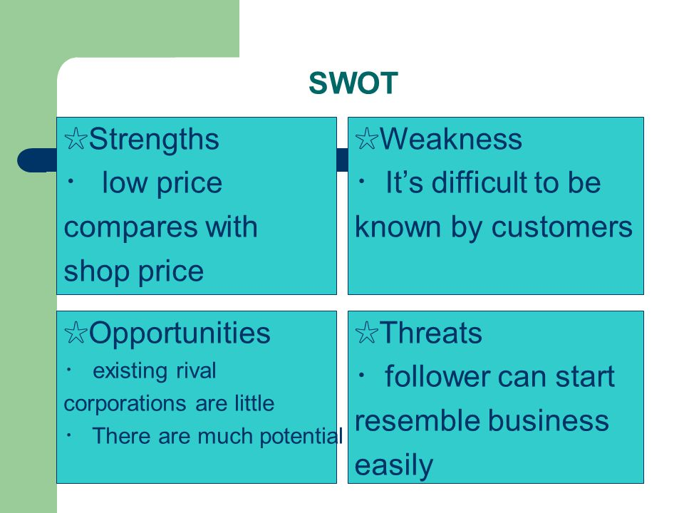 SWOT Threats follower can start resemble business easily Opportunities existing rival corporations are little There are much potential Weakness Its di