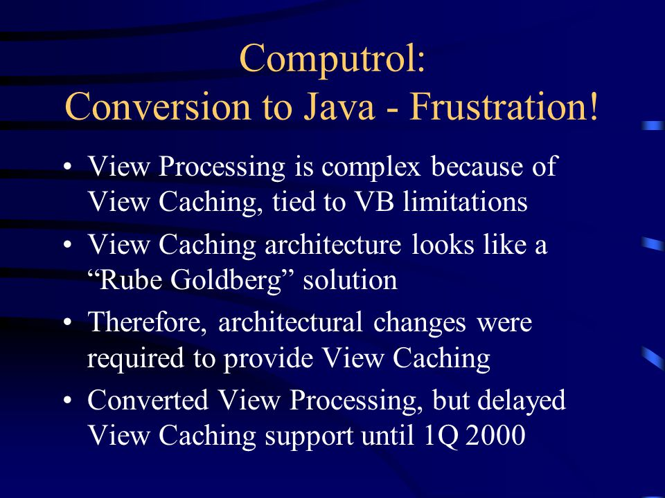 Computrol: Conversion to Java - Frustration.