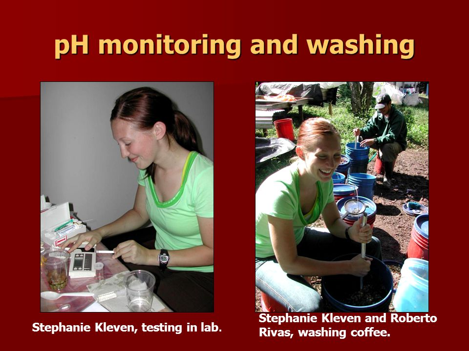 pH monitoring and washing Stephanie Kleven, testing in lab.