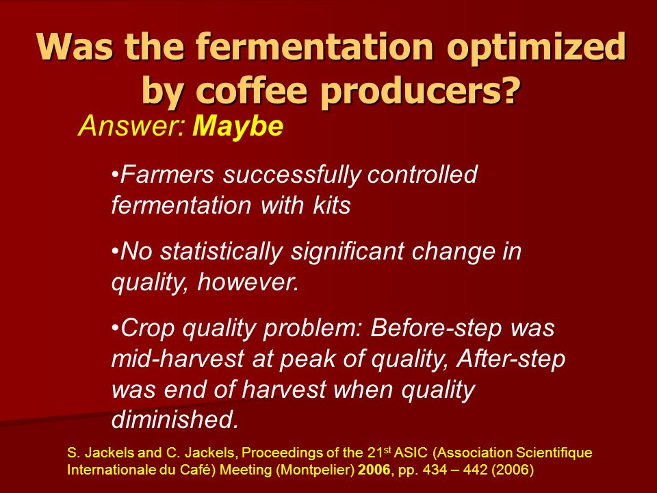 Was the fermentation optimized by coffee producers.