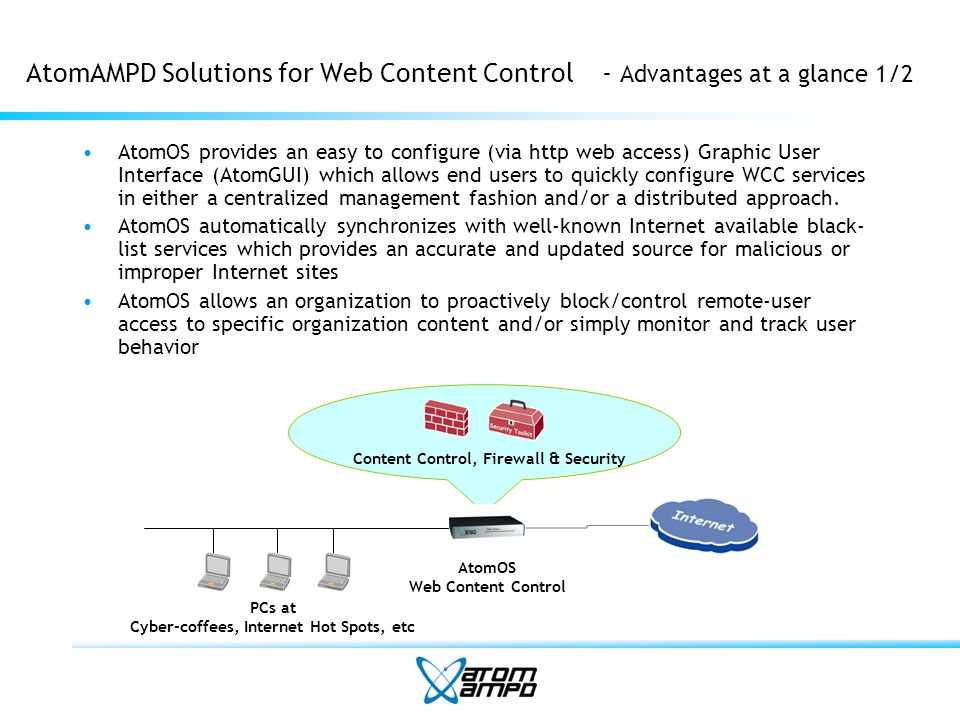 AtomAMPD Solutions for Web Content Control- Advantages at a glance 1/2 AtomOS provides an easy to configure (via http web access) Graphic User Interface (AtomGUI) which allows end users to quickly configure WCC services in either a centralized management fashion and/or a distributed approach.