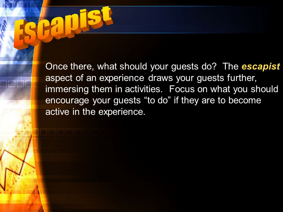 escapist Once there, what should your guests do.