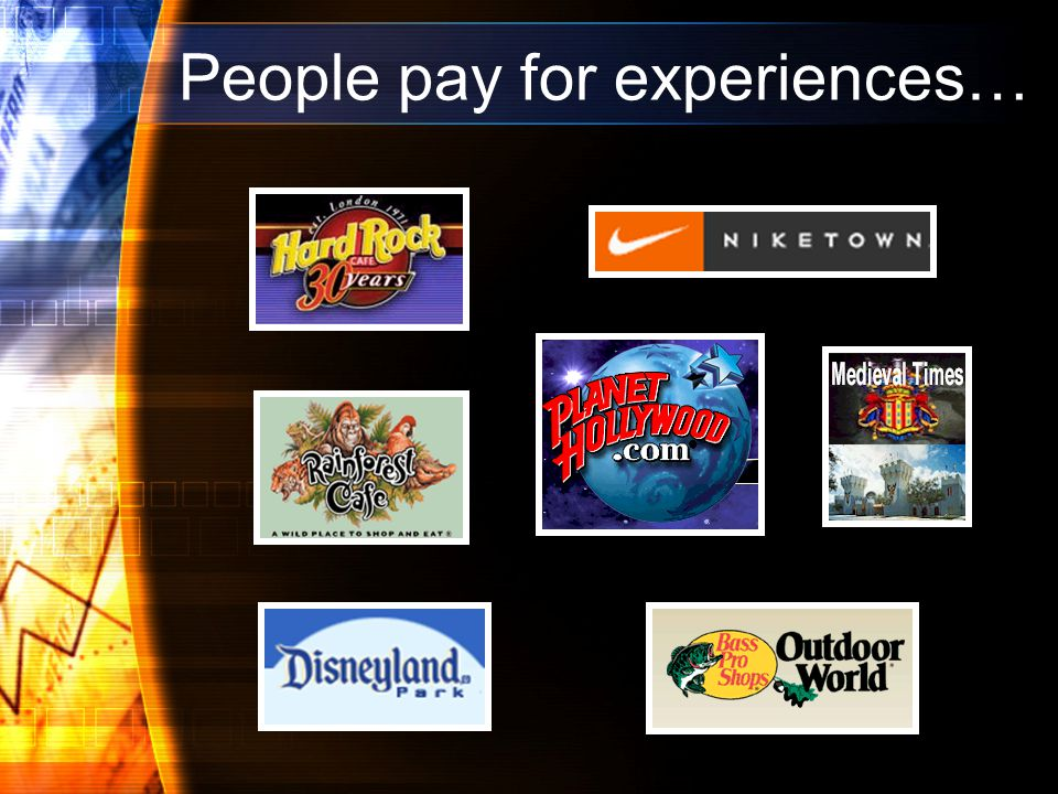 People pay for experiences…