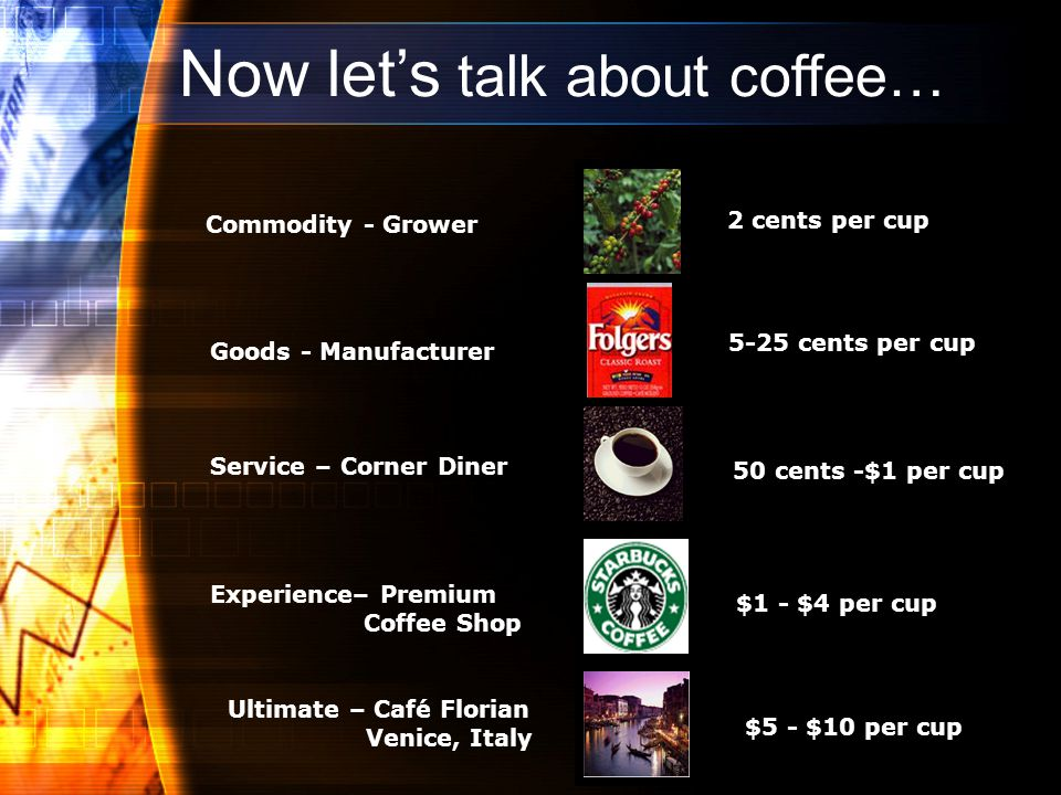 Commodity - Grower 2 cents per cup Goods - Manufacturer 5-25 cents per cupService – Corner Diner 50 cents -$1 per cup Experience– Premium Coffee Shop $1 - $4 per cup Ultimate – Café Florian Venice, Italy $5 - $10 per cup Now lets talk about coffee…