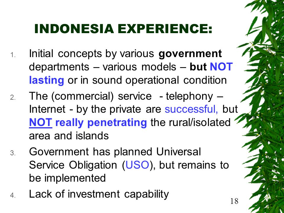 18 INDONESIA EXPERIENCE: 1.