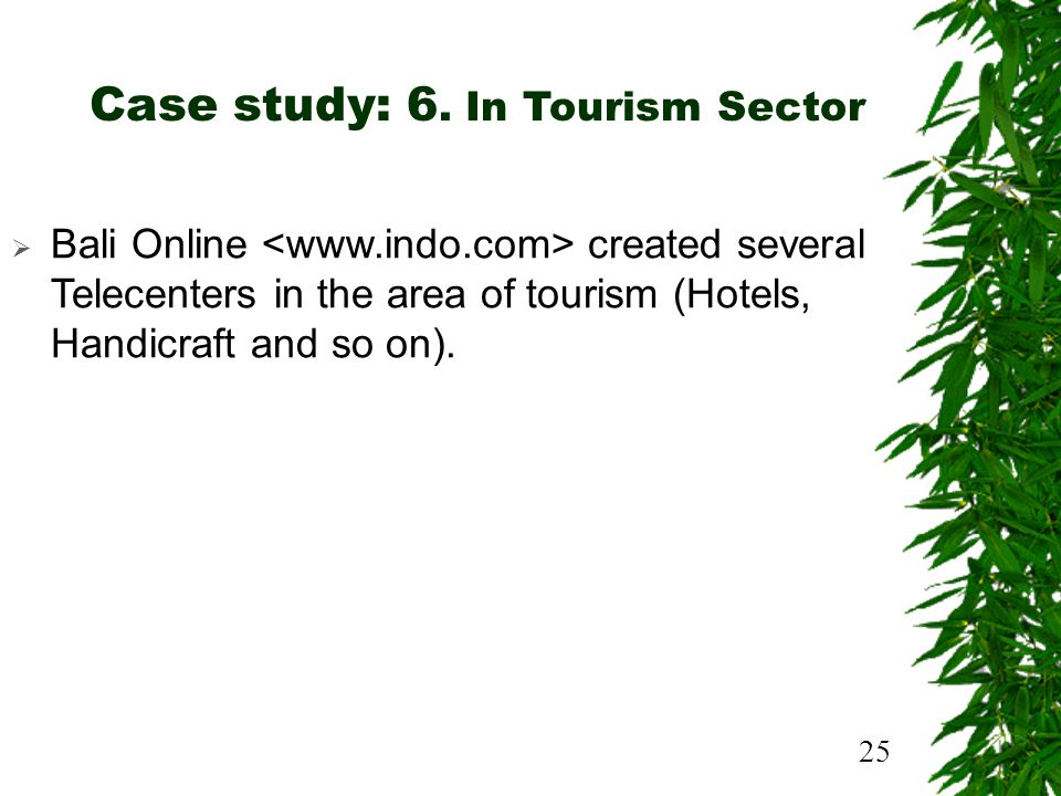 25 Case study: 6. In Tourism Sector Bali Online created several Telecenters in the area of tourism (Hotels, Handicraft and so on).