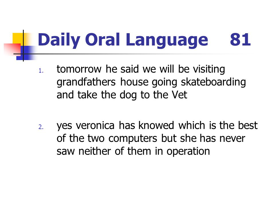 Daily Oral Language81 1. tomorrow he said we will be visiting grandfathers house going skateboarding and take the dog to the Vet 2. yes veronica has k