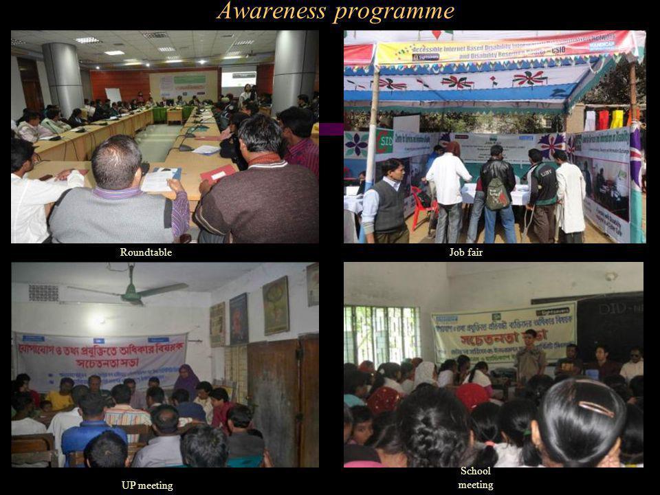 Awareness programme RoundtableJob fair UP meeting School meeting
