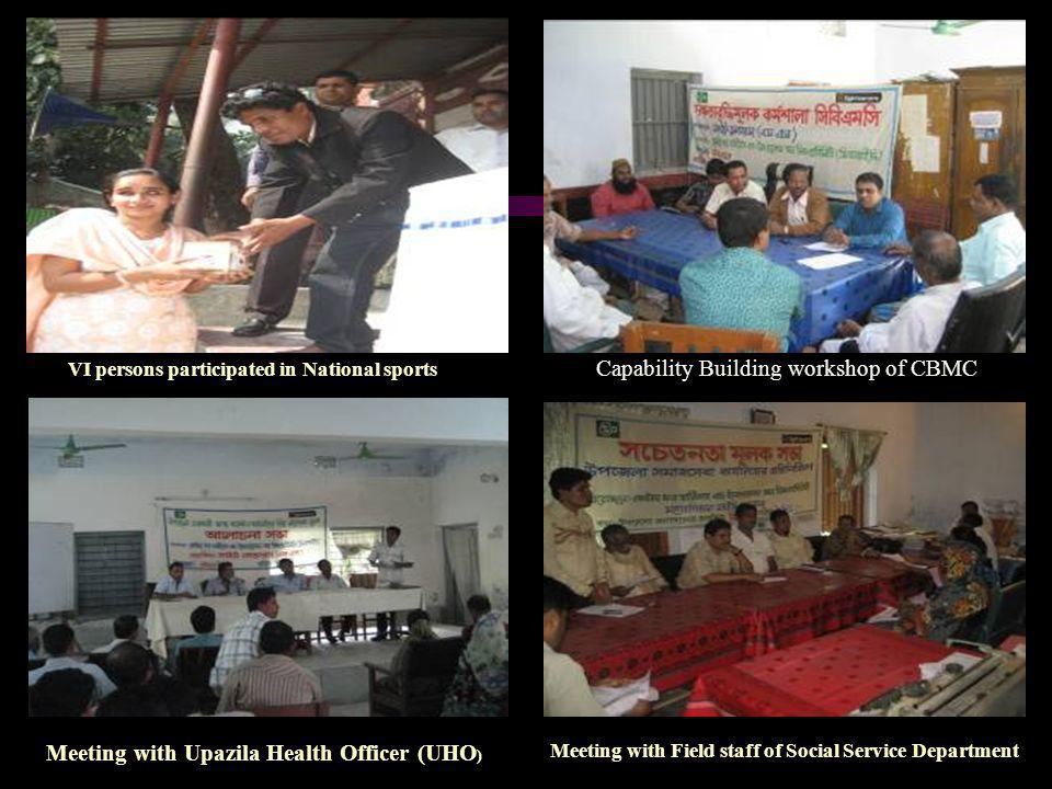 Capability Building workshop of CBMC Meeting with Upazila Health Officer (UHO ) Meeting with Field staff of Social Service Department VI persons parti