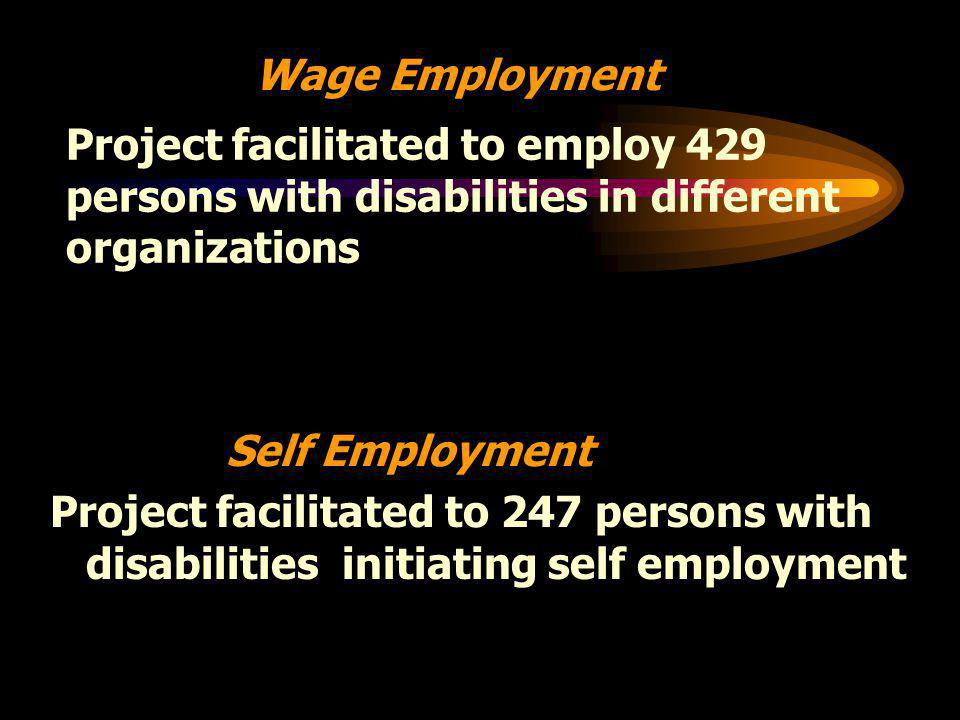 Project facilitated to 247 persons with disabilities initiating self employment Self Employment Wage Employment Project facilitated to employ 429 persons with disabilities in different organizations