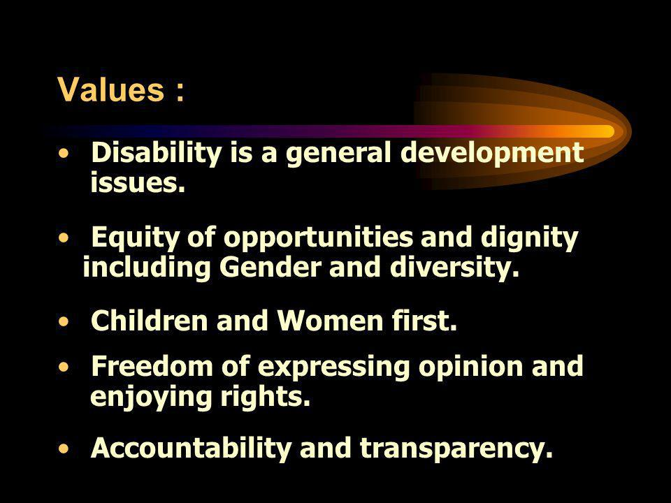 Values : Disability is a general development issues.