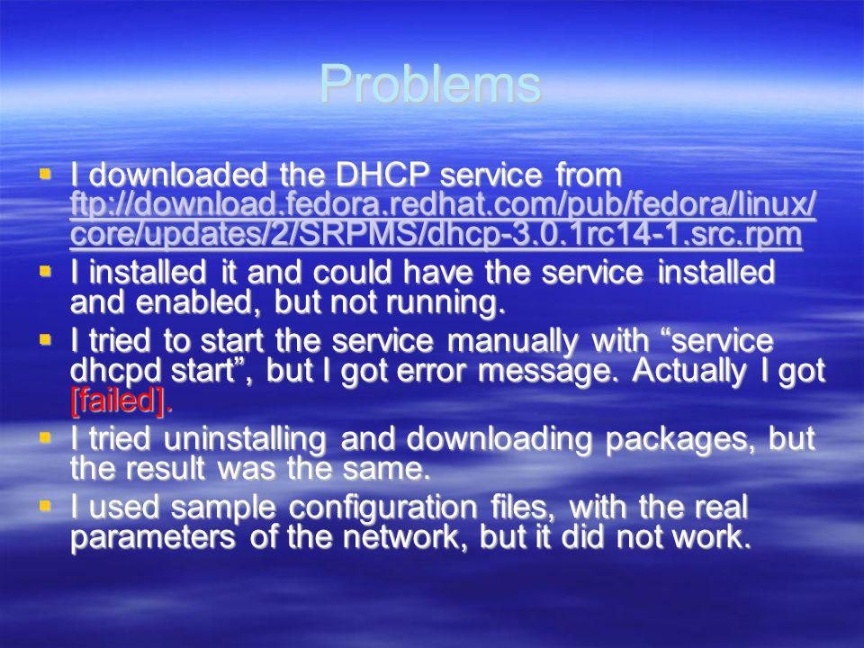 Problems I downloaded the DHCP service from ftp://download.fedora.redhat.com/pub/fedora/linux/ core/updates/2/SRPMS/dhcp-3.0.1rc14-1.src.rpm I downloaded the DHCP service from ftp://download.fedora.redhat.com/pub/fedora/linux/ core/updates/2/SRPMS/dhcp-3.0.1rc14-1.src.rpm ftp://download.fedora.redhat.com/pub/fedora/linux/ core/updates/2/SRPMS/dhcp-3.0.1rc14-1.src.rpm ftp://download.fedora.redhat.com/pub/fedora/linux/ core/updates/2/SRPMS/dhcp-3.0.1rc14-1.src.rpm I installed it and could have the service installed and enabled, but not running.