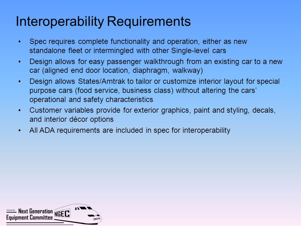 Interoperability Requirements Spec requires complete functionality and operation, either as new standalone fleet or intermingled with other Single-lev