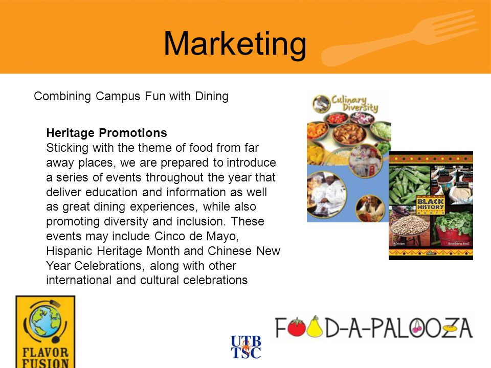 Heritage Promotions Sticking with the theme of food from far away places, we are prepared to introduce a series of events throughout the year that deliver education and information as well as great dining experiences, while also promoting diversity and inclusion.