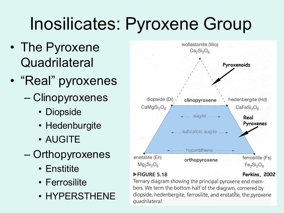12 The Pyroxene Quadrilateral Real pyroxenes –Clinopyroxenes Diopside Hedenburgite AUGITE –Orthopyroxenes Enstitite Ferrosilite HYPERSTHENE Inosilicat
