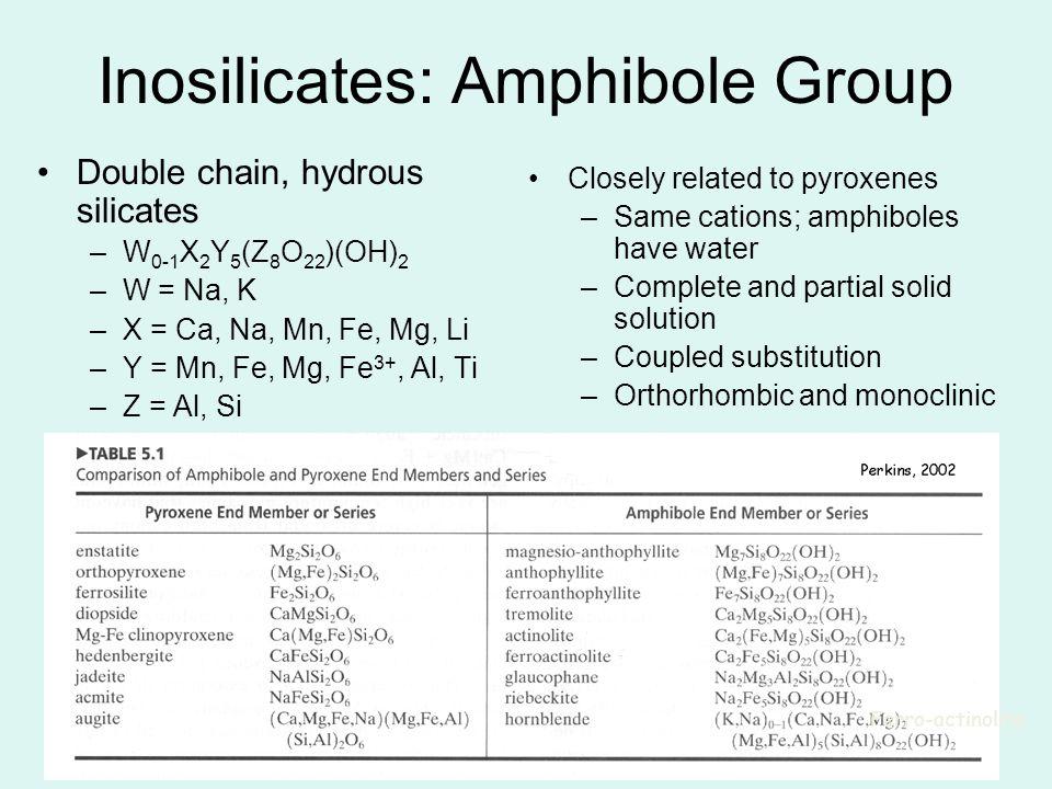 16 Inosilicates: Amphibole Group Double chain, hydrous silicates –W 0-1 X 2 Y 5 (Z 8 O 22 )(OH) 2 –W = Na, K –X = Ca, Na, Mn, Fe, Mg, Li –Y = Mn, Fe,