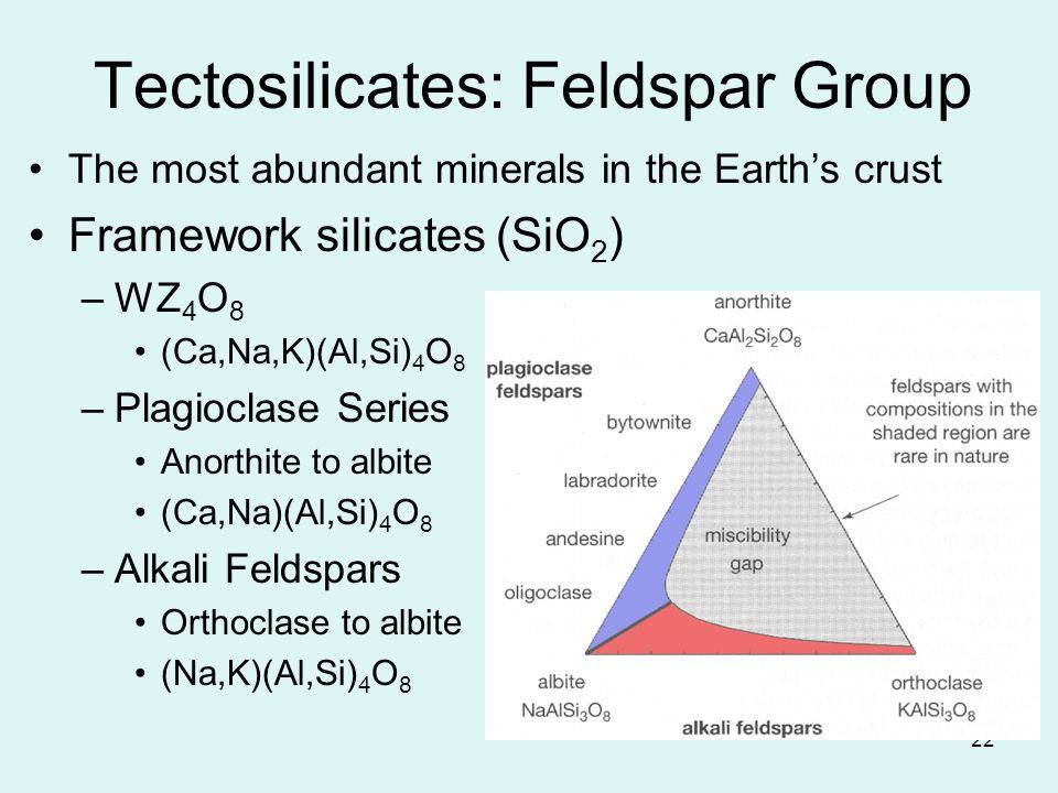 22 Tectosilicates: Feldspar Group The most abundant minerals in the Earths crust Framework silicates (SiO 2 ) –WZ 4 O 8 (Ca,Na,K)(Al,Si) 4 O 8 –Plagio