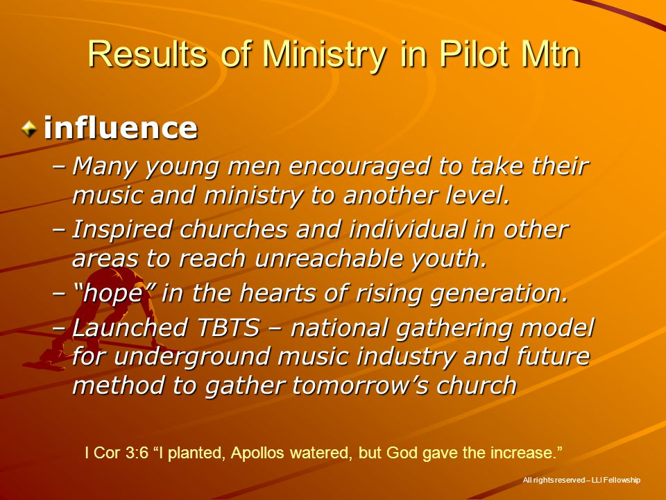 Results of Ministry in Pilot Mtn influence –Many young men encouraged to take their music and ministry to another level.