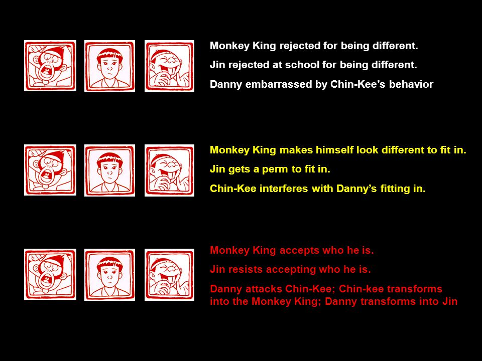 Monkey King rejected for being different.Jin rejected at school for being different.