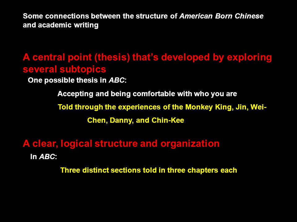 Some connections between the structure of American Born Chinese and academic writing A central point (thesis) thats developed by exploring several sub