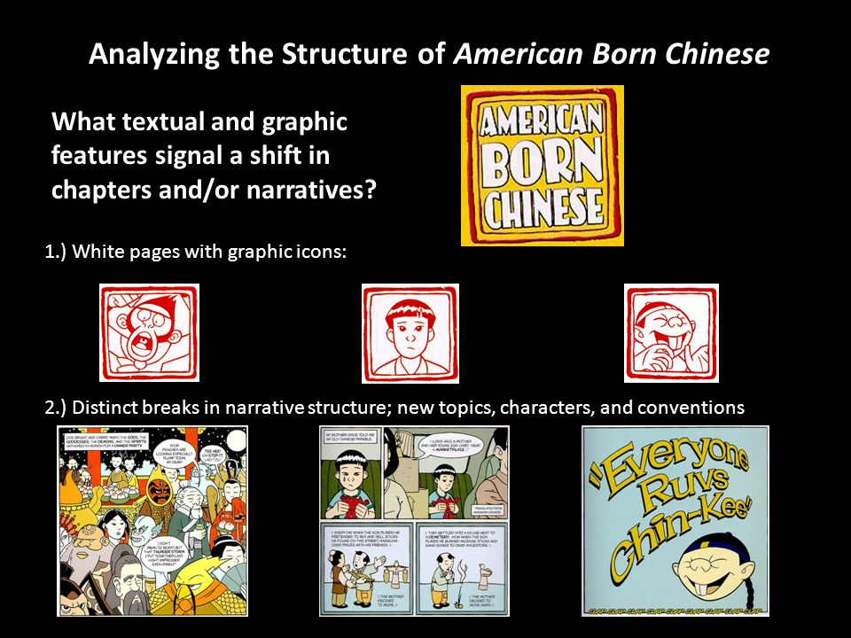 Analyzing the Structure of American Born Chinese What textual and graphic features signal a shift in chapters and/or narratives? 1.) White pages with