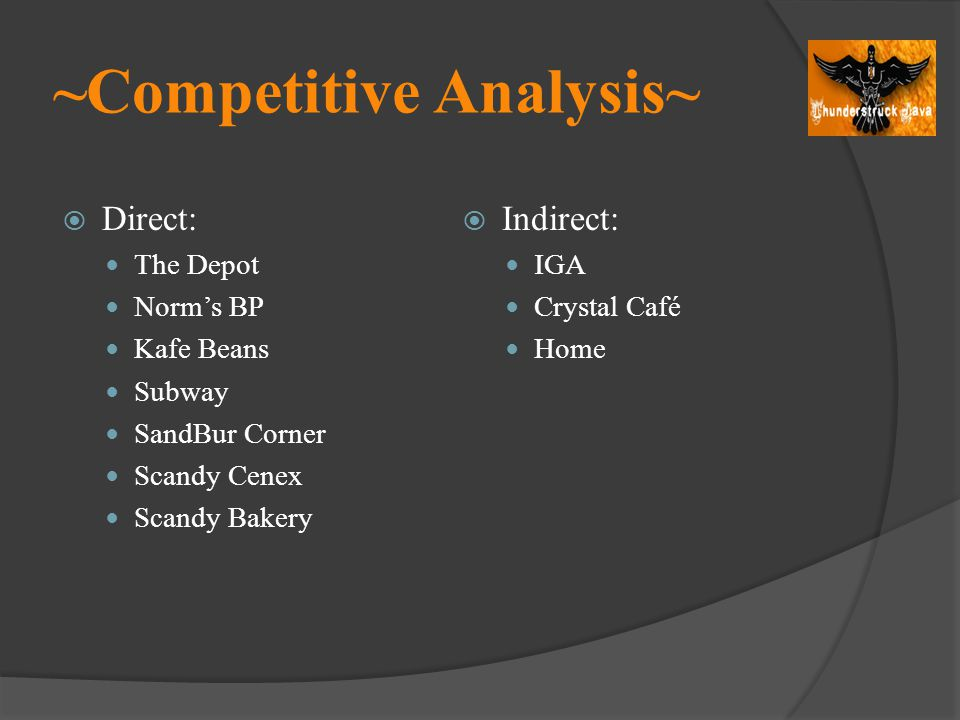 ~Competitive Analysis~ Direct: The Depot Norms BP Kafe Beans Subway SandBur Corner Scandy Cenex Scandy Bakery Indirect: IGA Crystal Café Home