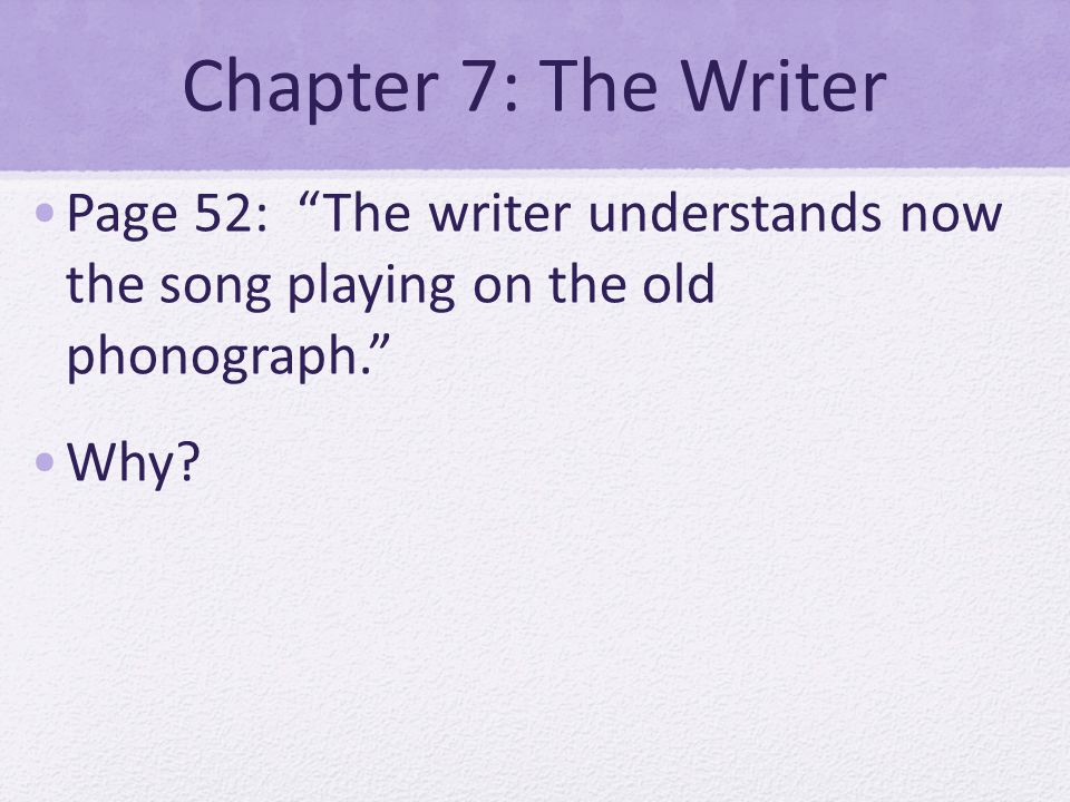 Chapter 7: The Writer Page 52: The writer understands now the song playing on the old phonograph.