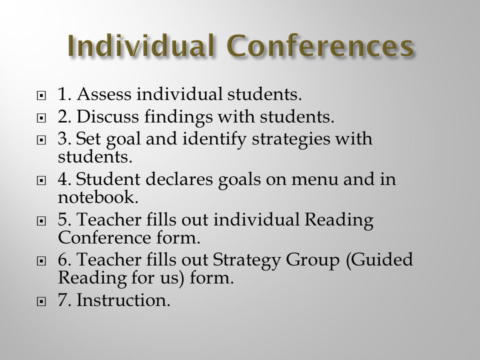 1.Assess individual students. 2. Discuss findings with students.