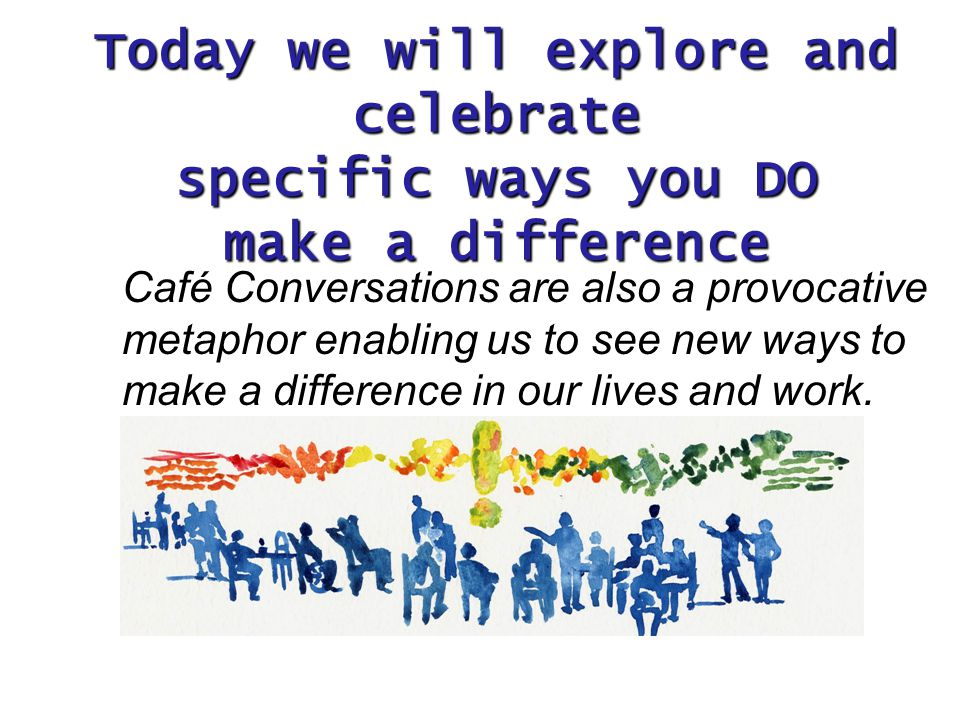 Café Conversations are also a provocative metaphor enabling us to see new ways to make a difference in our lives and work.