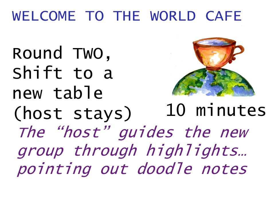 WELCOME TO THE WORLD CAFE Round TWO, Shift to a new table (host stays) The host guides the new group through highlights… pointing out doodle notes 10 minutes