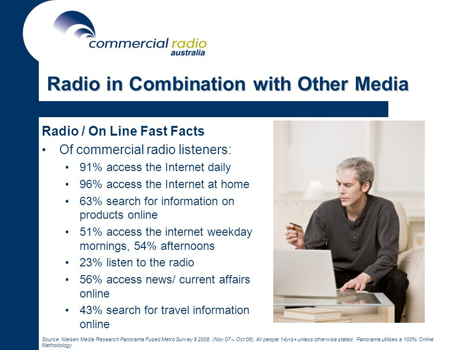 Radio in Combination with Other Media Radio / On Line Fast Facts Of commercial radio listeners: 91% access the Internet daily 96% access the Internet at home 63% search for information on products online 51% access the internet weekday mornings, 54% afternoons 23% listen to the radio 56% access news/ current affairs online 43% search for travel information online Source: Nielsen Media Research Panorama Fused Metro Survey 9 2008, (Nov 07 – Oct 08), All people 14yrs+ unless otherwise stated.