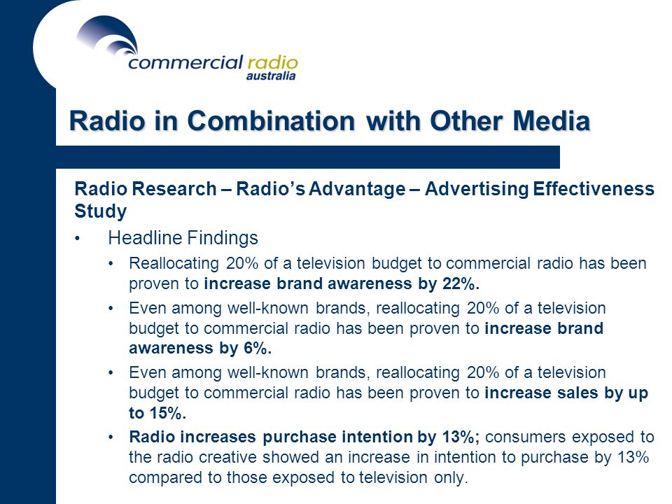 Radio Research – Radios Advantage – Advertising Effectiveness Study Headline Findings Reallocating 20% of a television budget to commercial radio has been proven to increase brand awareness by 22%.