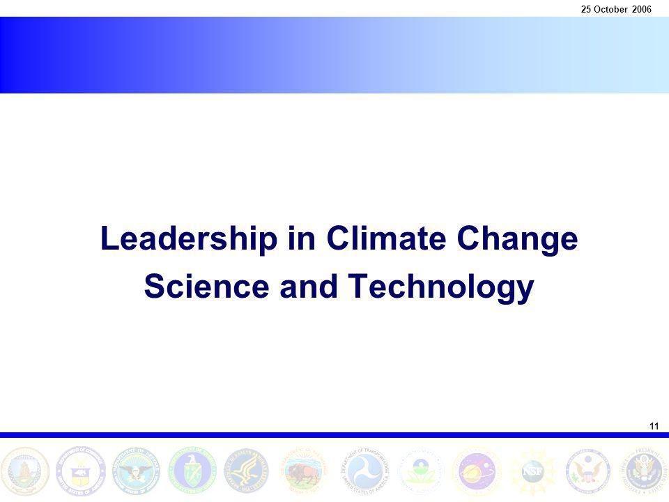 11 25 October 2006 Leadership in Climate Change Science and Technology