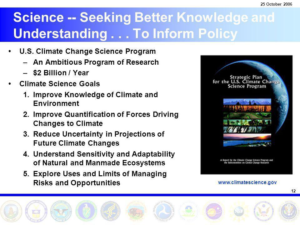 12 25 October 2006 Science -- Seeking Better Knowledge and Understanding...