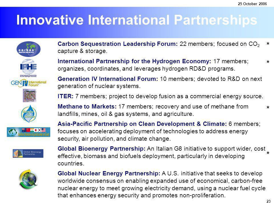 Innovative International Partnerships Carbon Sequestration Leadership Forum: 22 members; focused on CO 2 capture & storage.