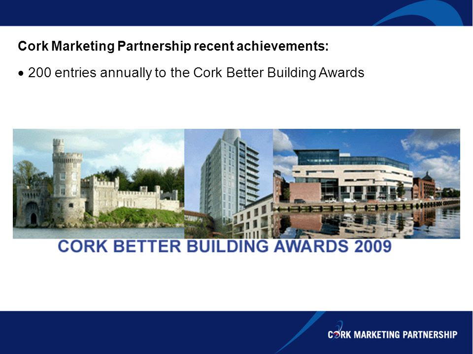 Cork Marketing Partnership recent achievements: 200 entries annually to the Cork Better Building Awards