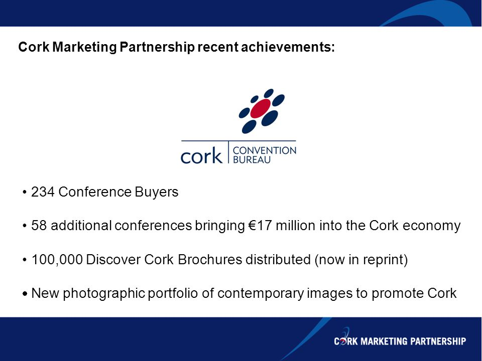 Cork Marketing Partnership recent achievements: 234 Conference Buyers 58 additional conferences bringing 17 million into the Cork economy 100,000 Disc