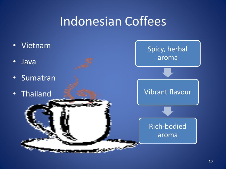 Indonesian Coffees Vietnam Java Sumatran Thailand Spicy, herbal aroma Vibrant flavour Rich-bodied aroma 10