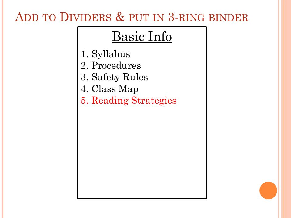 A DD TO D IVIDERS & PUT IN 3- RING BINDER Basic Info 1.Syllabus 2.Procedures 3.Safety Rules 4.Class Map 5.Reading Strategies