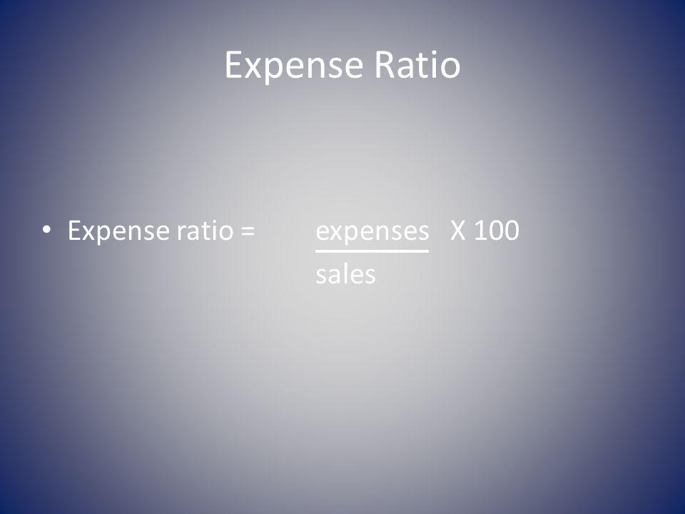 Expense Ratio Expense ratio = expenses X 100 sales