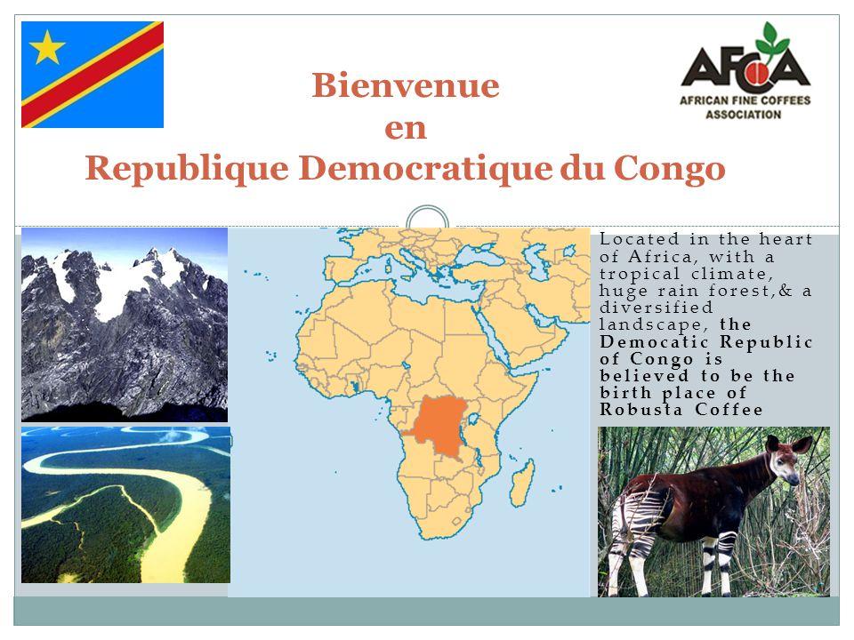 Bienvenue en Republique Democratique du Congo Located in the heart of Africa, with a tropical climate, huge rain forest,& a diversified landscape, the