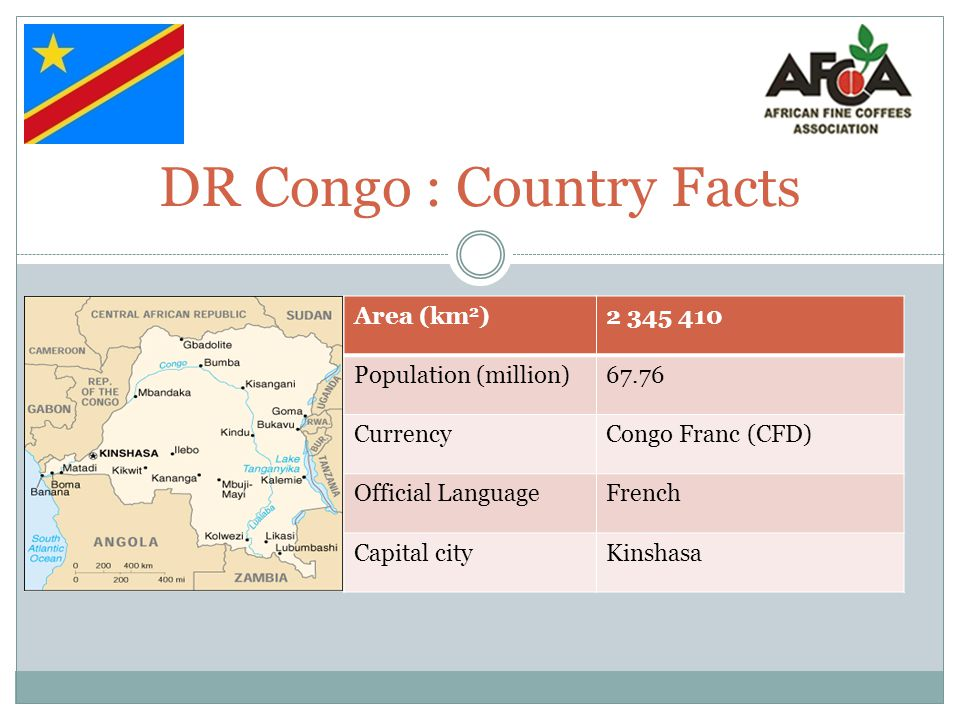 DR Congo Coffee Facts (1) Type of coffee: Arabica and Robusta Producing Regions: Kivu, Oriental, Equateur, Bandundu, Bas-Congo Processing Method: Dry and Wet Harvest Period: October - September Marketing System: Direct Sale Port of Shipment: Matadi, Boma, Mombasa, Dars-es-Salaam Countries of Export: Italy, Switerland, Belgium, …