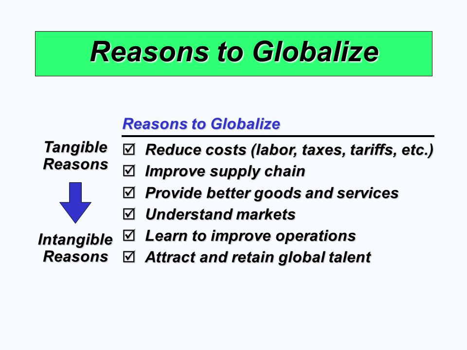 Reasons to Globalize Reduce costs (labor, taxes, tariffs, etc.) Reduce costs (labor, taxes, tariffs, etc.) Improve supply chain Improve supply chain P