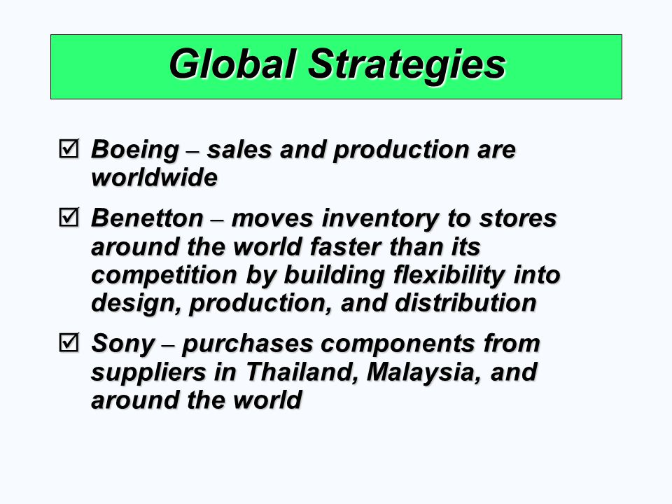Global Strategies Boeing – sales and production are worldwide Boeing – sales and production are worldwide Benetton – moves inventory to stores around