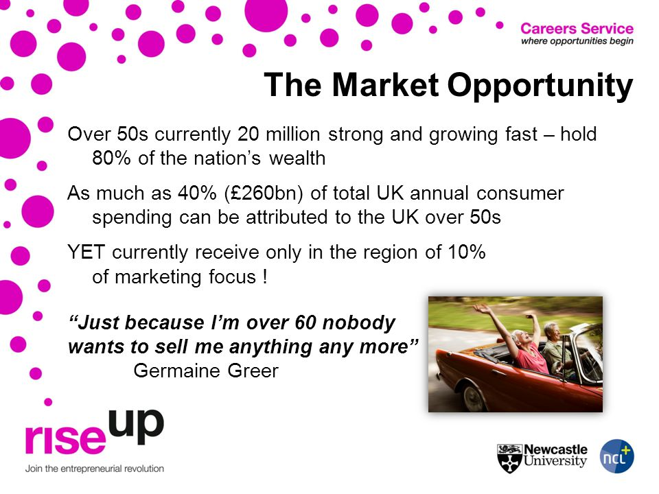 The Market Opportunity Over 50s currently 20 million strong and growing fast – hold 80% of the nations wealth As much as 40% (£260bn) of total UK annual consumer spending can be attributed to the UK over 50s YET currently receive only in the region of 10% of marketing focus .